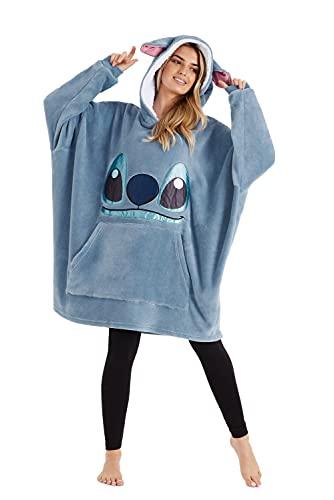 Disney Hoodie Blanket, Sherpa Fleece Oversized Hoodie Stitch Disney Gifts (Blue)