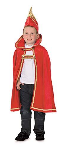 narrenkiste L3100140-104-116 - Disfraz infantil de tres bandas, capa de prncipe con gorro, talla 104-116