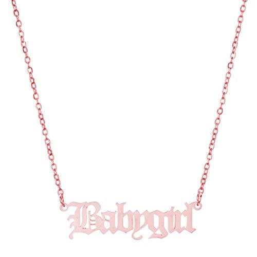 Collar retro con letra inglesa de acero inoxidable, colgante de cadena de clavícula, gargantilla de regalo de cumpleaños para mujeres, oro rosa