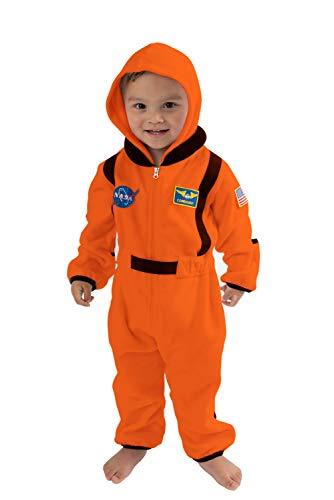 Cuddle Club Mono Polar Bebé para Recién Nacidos a Niños 4 Años - Pijamas Infantiles Chaqueta de Invierno Abrigo Polar Niño Mono de Niños - AstronautOrange12-18m