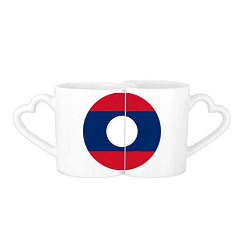 DIYthinker Laos Nationalflagge Asien Land Symbol Mark r&er Muster-Liebhaber Becher-Liebhaber Tassen Set weiße Keramik Keramik-Cup Milch Kaffeetasse mit Henkel