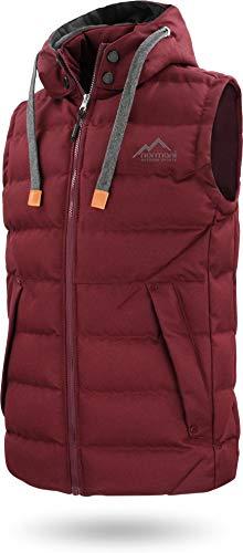 Herren Outdoor Weste Steppweste mit Abnehmbarer Kapuze und Stehkragen, große Seitentaschen und ECO-Obermaterial aus PET-Flaschen - SBS-Reißverschlüsse Farbe Bordeaux Größe 4XL