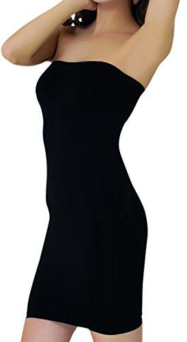 UnsichtBra Shapewear Damen Trägerloses Kleid | Shaping Unterkleid Trägerlos | Bodyformer Shape-Kleid in schwarz, weiß oder beige (sw_3200)(XL,Schw.-Kniel.)