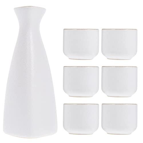 Garneck Conjunto de Sake de Cerámica Blanca Y Tazas de Sake Japonés Juego de Sake de Porcelana Botella Tokkuri Y Seis Tazas de Sake Ochoko Juego de Sake para Servir en Casa O Restaurante