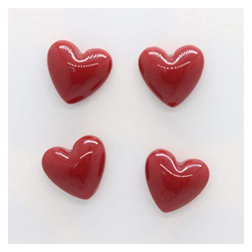 Calamite da frigo 20mm mini rosso rosa frigo magnete resina a forma di cuore colorato decorazione cucina foto pasta carta messaggio riparatore detentore ufficio fai da te ufficio ( Color : 4pcs red )