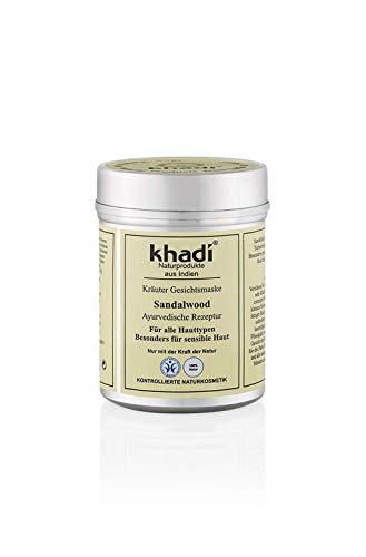 khadi Gesichtsmaske mit Sandelholz 50g I Natürliche Gesichtspflege für empfindliche und trockene Haut I Hautpflege nach ayurvedischer Tradition I Kontollierte Naturkosmetik 100% pflanzlich