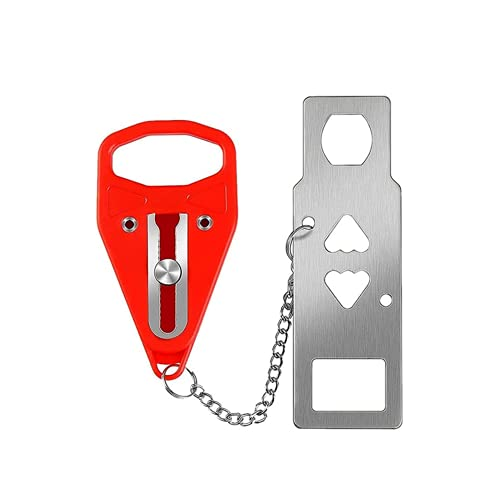 Cerradura de Puerta Portátil, Cerradura Adiccional de Seguridad Viaje Pestillo, Fuerte y Duradero Cerradura Adicional Seguridad, para Escuelas Hotel Dormitorio Baño Puerta del Apartamento - Rojo