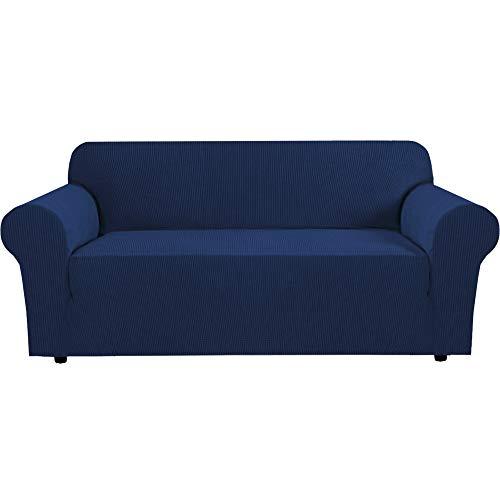 Sofabezüge, 1 Stück Mikrofaser-Stretch-Sofabezug - Spandex-Sofabezug mit weichem Sitz, waschbarer Möbelschutz mit elastischem Boden für Kinder, Haustier (3-Sitzer, Navy)