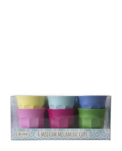 Rice Melamin Becher 6er Set klassische Farben 9 cm hoch