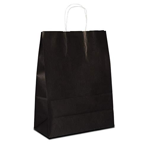 250 x Papierbeutel schwarz 32+12x41 cm | stabile Kraftpapiertüten farbig | Papiertüten Kordelhenkel | Werbetaschen Mittel | Papiertragetaschen |HUTNER