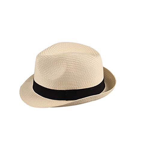 Sombrero Paja Hombre Mujer Fedora Borsarino Trilby Gorra Panamá Verano Playa ala Corta Moda Unisex (lu-128-crema, 58cm)