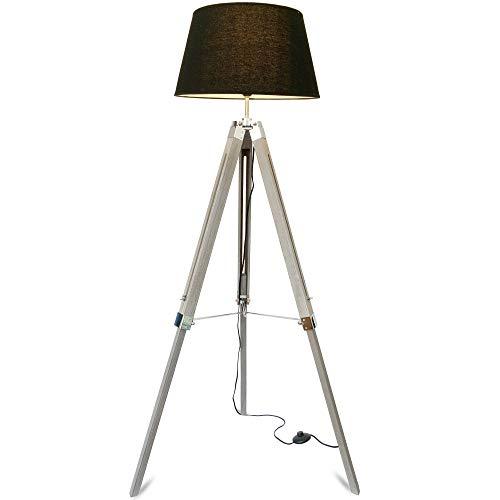 mojoliving® Stehlampe für das Wohnzimmer Schlafzimmer mit Stativ aus Holz Höhenverstellbar - Deko Stehleuchte Lampe Dreibein Schirm Schwarz, Stativ Braun