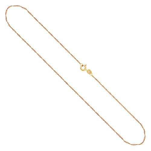 Echtgold Kette Damen 1 mm, Singapurkette 333 Gold, Goldkette mit Stempel und Federringverschluss, Länge 40 cm, Gewicht ca. 0,7 g, Made in Germany