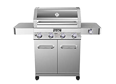 Monument Grills 41847NG Stainless Steel 4 Burner Propane Grill (Convertible to Natural Gas) with Clear View Lid, LED Controls and Side Burner