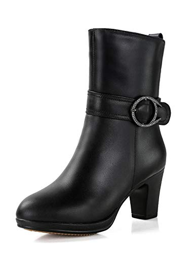 Ankle Boots Women Genuine Leather Natural Wool Boots Platform Boot Sexy Dress Shoes Woman,8 Black