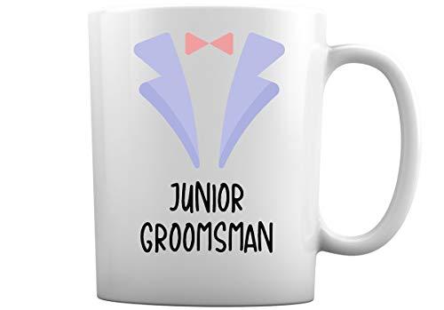 Tazas de café de boda para toda la familia | Elige entre más de 30 diseños de tazas de café blancas de 11 onzas para novio mejor hombre dama de honor + más (novio junior)