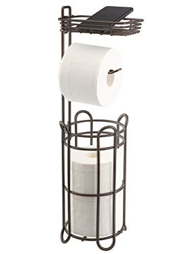 toilet paper holder with storages Toilet Paper Roll Holder Stand with Storage Shelf Bathroom Accessories Tissue Paper Dispenser Free Standing Bathroom Storage Organization Metal Bronze Brown Keenove