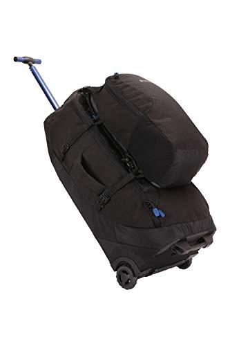 Mountain Warehouse Voyager Wheelie 50 + 20 l Rucksack - Abnehmbarer Tagesrucksack, Rucksack mit Schulterriemen, Reißverschlüsse - Für Reisen, Wandern, Camping, Frühling Schwarz Jet Einheitsgröße