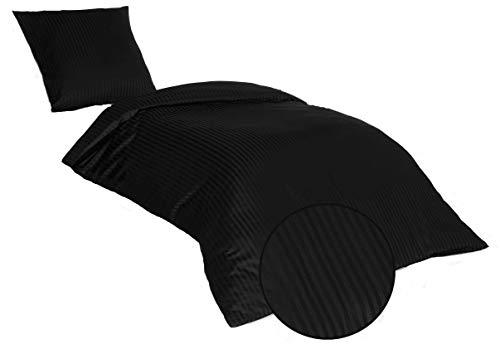 SALE AND MORE Damast Mako Satin Bettwäsche Set   Bettdeckenbezug mit Kopfkissenbezüge   Bettgarnitur   Baumwolle Bettbezug (Schwarz, 135 cm x 200 cm)