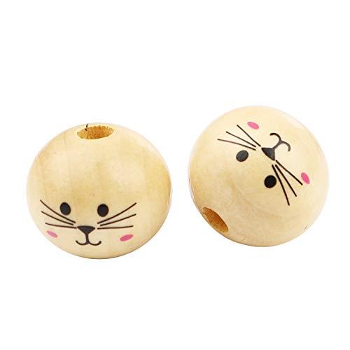 SiAura Material - 30 perlas de madera, natural con cara de gato, 20 mm con agujero de 4,9 mm, redondas, para manualidades, enhebrar y pintar.