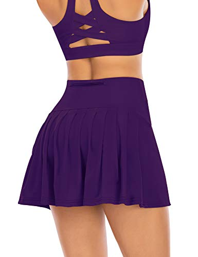 Pleated Tennis Skirts for Women with Pockets Shorts Athletic Golf Skorts Activewear Running Workout Sports Skirt (Purple, Medium)