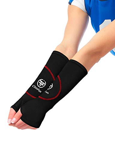 ChinFun Volleyball Arm Sleeves Protection Padded Forearm Sleeves with Thumholes Passing Practice for Women Youth Black & Red Size 10 Inches