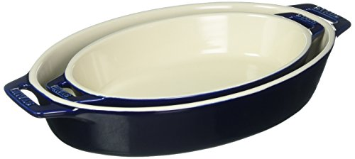 Staub 40508-632 Ceramics Oval Baking Dish Set, 2-piece, Dark Blue