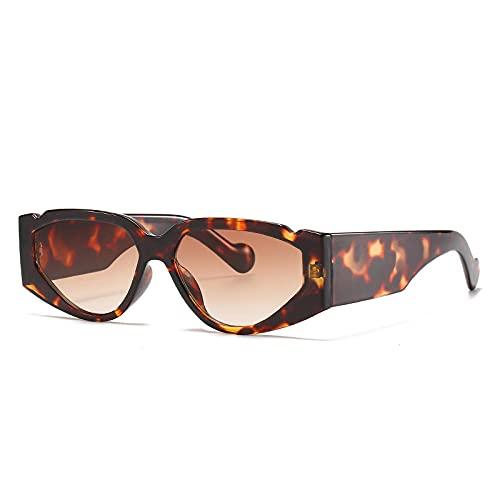 U/N Gafas de Sol Vintage para Mujer con Montura de Leopardo, Gafas de Sol Punk para Hombre, Tonos Rojos Retro-1