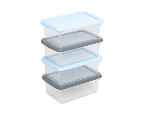 Wham Box The Humble Storage Range with Lids Set of 4 Assorted Lid Colours 3.5L 118 fl oz
