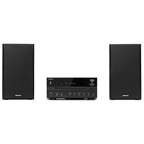 Medion P64262 Micro-Audio-System (DAB+, 2x15 W RMS, PLL-UKW-Stereo-Radio, Bluetooth, USB-Anschluss, AUX-Anschluss) schwarz