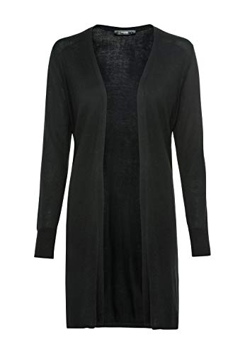 HALLHUBER Verschlussloser Long-Cardigan gerade geschnitten schwarz, M