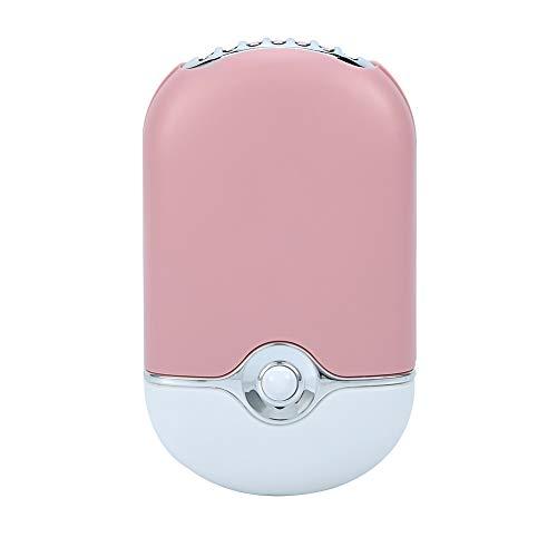 Mini ventilador portátil personal, ventilador de aire acondicionado eléctrico, ventilador refrigeración de enfriamiento mano Recarga de USB para la extensión de pestañas Secador rápido esmalt(Rosado)