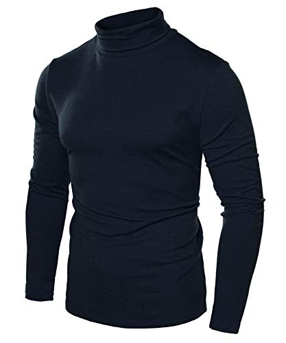JINIDU Men's Slim Fit Turtleneck T Shirts Casual Cotton Thermal Pullover Sweaters Navy