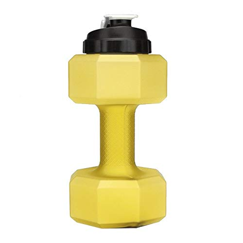 3nh Frosted 2.5L Large Capacity Sport Water Bottle Dumbbell Water Bottle for Gym Fitness Outdoor Running Camping Cycling Kettle: Yellow