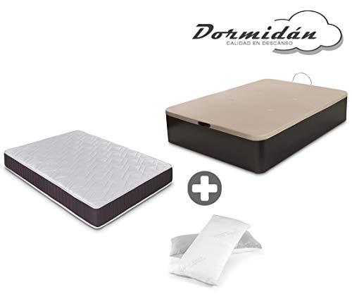 Dormidán - Pack de canapé abatible de Gran Capacidad + colchón viscoelástico + Almohada visco Copos de Regalo (105_x_190_cm, Wengué)