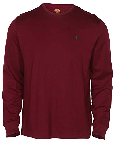 Polo Ralph Lauren Men Long Sleeve Pony Logo T-Shirt (Medium, Red Wine)