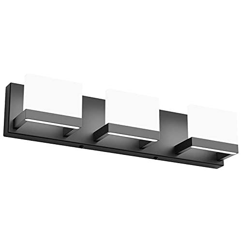 Tipace Black LED Vanity Lighting Fixture Modern 3 Lights Vanity Lights for Bathroom Black Bathroom Wall Light Fixtures 6000K