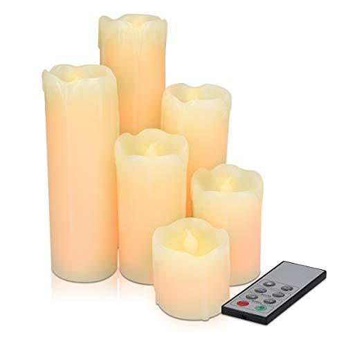 Navaris Pack de 6 velas de cera auténtica LED - Velas LED con efecto parpadeante y mando a distancia - Vela con luz blanca cálida - Con temporizador