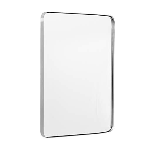 """ANDY STAR Brushed Nickel Mirror for Bathroom 22""""x30"""" Silver Metal Frame Wall Mirror Rectangular Stainless Steel Rounded Corner Mirror with 1'' Deep Set Design Hangs Horizontal Or Vertical"""