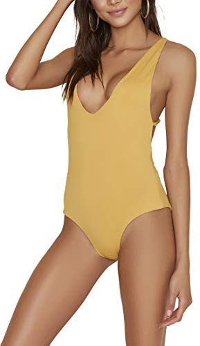 ToBeInStyle Women's Cross-Back Seamless One Piece Swimsuit - Honey - M
