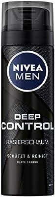 Nivea Men Deep Control Shaving Foam in 6er Pack (6 x 200 ML), Shaving Foam for Pleasant Razor, Shaving Foam for Men with Black Carbon by Nivea Men