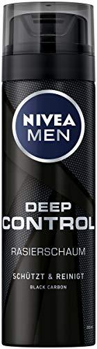 NIVEA MEN Deep Control Rasierschaum im 6er Pack (6 x 200 ml), Rasierschaum für eine angenehme Rasur, Rasierschaum für Herren mit Black Carbon