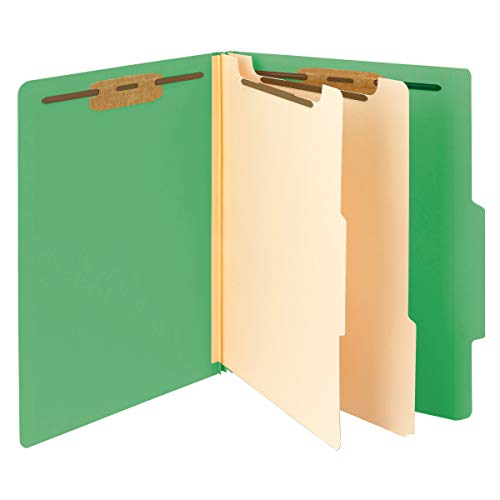 """Smead Classification File Folder, 2 Dividers, 2"""" Expansion, 2/5-Cut Tab, Letter Size, Green, 10 per Box (14002)"""