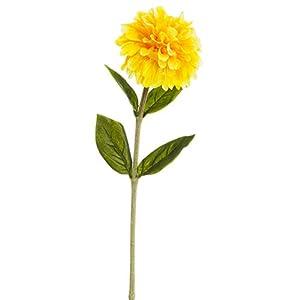 29″ Zinnia Silk Flower Stem -Yellow (Pack of 12)