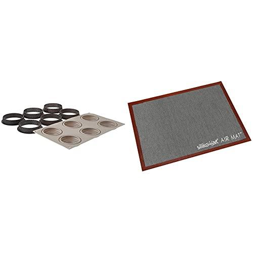 Silikomart 25.273.13.0065 - Stampo mini Twist, in metallo & 70.109.99.0065 Tappetino microforato da Forno, Silicone, Nero, 6 x 7.3 x 42.5 cm