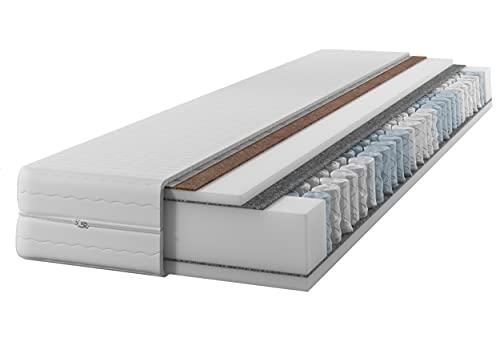 IZER Matratze GoldPLUS 90x200 cm mit KOKOS | 2 in1 | H3 und H4 | 7-Zonen | Taschenfederkern | Versteppter Bezug | Federkern