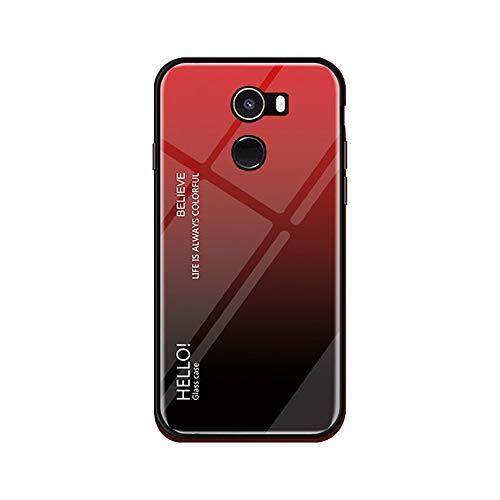 Funda Xiaomi Mi Mix 2 Vidrio Templado,Ultra Fina TPU + Cristal Templado Cubierta Trasera Carcasa Gradiente de Color es Durable para Xiaomi Mi Mix 2 (Xiaomi Mi Mix 2, Rojo + Negro)