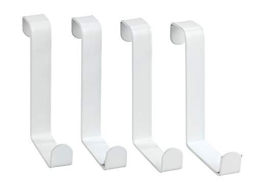 Wenko Türgarderobenhaken - Türgarderobe 4 Haken, Stahl, 7,6 x 1,2 x 6 cm, weiß