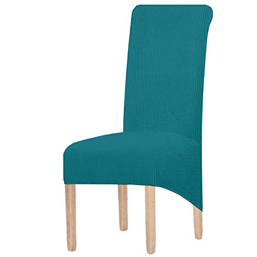 KELUINA - Fundas para sillas de comedor con respaldo largo de jacquard elástico de elastano para silla de comedor (tamaño XL, tamaño grande, 4 unidades), color verde azulado