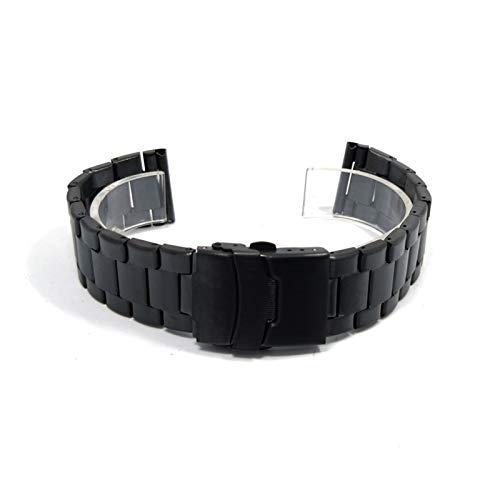 DFKai1run Correa de Acero Inoxidable, Venda de Acero Inoxidable del Reloj de 20mm 22mm Negro Reloj Correa de Plata Doble de Prensa de Seguridad Hebilla de Metal Muñequera Deportes de Moda